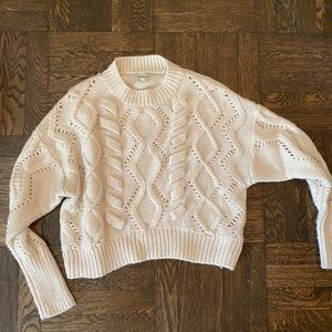Off White Cable Knit Sweater - Small